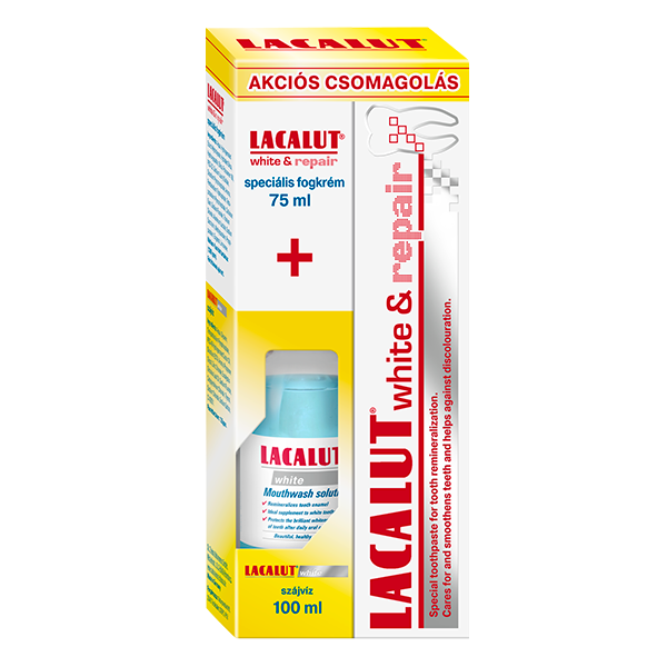 Lacalut white & repair fogkrém 75 ml + Lacalut white szájvíz 100 ml