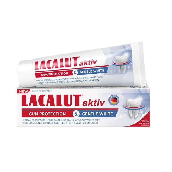 Lacalut aktiv gum protection & gentle white fogkrém 75 ml